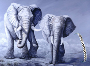 MOONLIGHT GAMES-Elephants, fine art print on canvas, with Pewter Herringbone Link bracelet