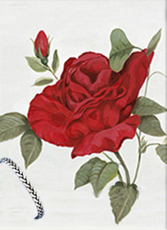 Red Rose II, Giclee Print, with Pewter Herringboe Bracelet