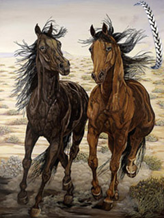 Running Wild-Mustangs, fine art print, with Pewter Herringbone Bracelet