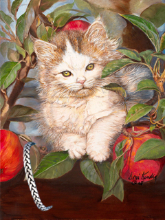 Kitten Up a Tree, Giclee Print, with Pewter Herringbone Bracelet