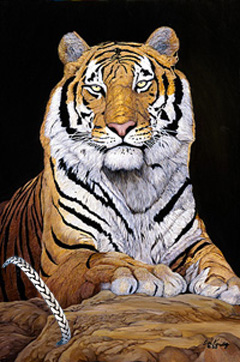 Watchful-Bengal Tiger, fine art print, with Pewter Herringbone Bracelet