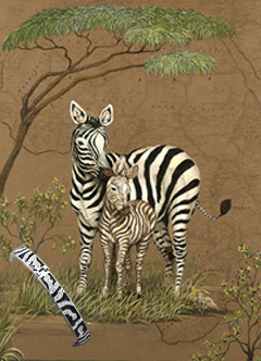 Mother Africa-Zebras, fine Art Print, with CZ and Black Enamel
