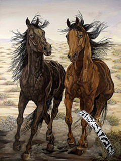 Running Wuld-Mustangs, Fine Art Print on Canvas, with Bracelet of CZs and Black Enamel