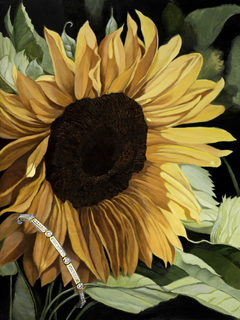 Sunflower, canvas print, withGold Vermeil links of Chanel and Bezel set CZs Bracelet