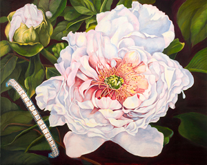 Peony, fine art print on canvas, with channel set square CZ Bracelet