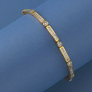 18K Gold vermeil with alternating Bezel and Channel set CZs