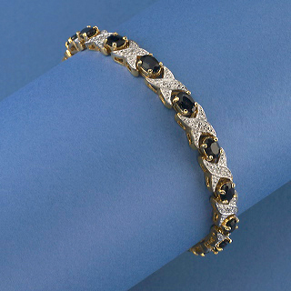 pave CZ with sapphires-man made bracelet