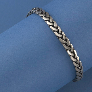 Pewter finish ovr jewelers alloy herringbonebracelet