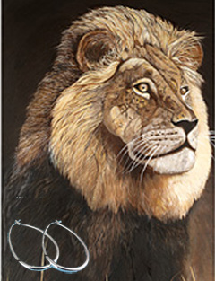 Portrait ofa King-Lion Fine Art Print on Canvas with  the Sterling Silver 1 1/2 inch Tubular Teardrop Hoop Earrings