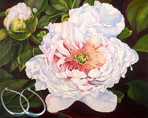 Peony_ Flower Fine Art Print on Canvas with  the Sterling Silver 1 1/2 inch Tubular Teardrop Hoop Earrings