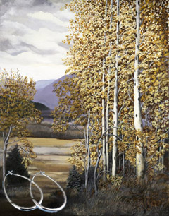Aspens_Landscape Fine Art Print on Canvas with  the Sterling Silver 1 1/2 inch Tubular Teardrop Hoop Earrings