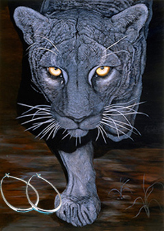 On the Prowl-Black Panther Fine Art Print on Canvas with  the Sterling Silver 1 1/2 inch Tubular Teardrop Hoop Earrings