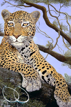 The Sentinel-Leopard Fine Art Print on Canvas with  the Sterling Silver 1 1/2 inch Tubular Teardrop Hoop Earrings