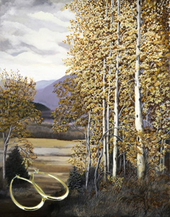 Aspens-Landscapes Fine Art Print on Canvas with the Bonded 18K Gold Tubular Teardrop Hoop Earrings