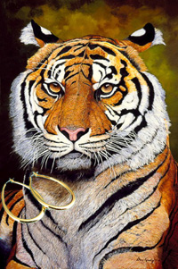 The Sultan-Sumatran Tiger Fine Art Print on Canvas with the Bonded 18K Gold Tubular Teardrop Hoop Earrings
