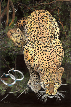Caution-Baby on Board-Leopard Fine Art Print on Canvas with  the Sterling Silver Tubular Hoop Earrings