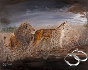 Night Hunt-Lions Fine Art Print on Canvas with  the Sterling Silver Tubular Hoop Earrings