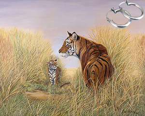 Playtime with Dad-Tiger Fine Art Print on Canvas with  the Sterling Silver Tubular Hoop Earrings