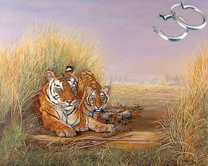 Playtime with Mom-Tiger Fine Art Print on Canvas with  the Sterling Silver Tubular Hoop Earrings