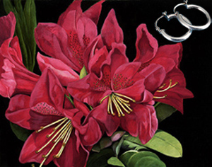 Red Rhododendrun-Flowers Fine Art Print on Canvas with  the Sterling Silver Tubular Hoop Earrings