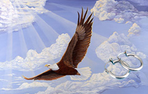 In God We Trust-Bald Eagle Fine Art Print on Canvas with  the Sterling Silver Tubular Hoop Earrings