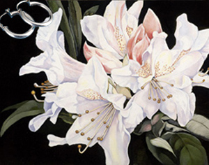 White Rhododendrun-Flowers Fine Art Print on Canvas with  the Sterling Silver Tubular Hoop Earrings