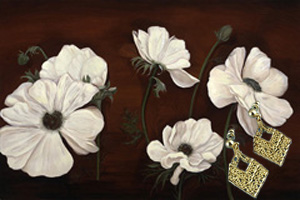 Anemones on Burgundy Black Fine Art Print on Canvas with  the 18K Gold Vermeil Diamond Shaped Earrings