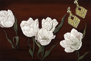 Tulips on Burgundy Black, fine art print with  the 18K Gold Vermeil Diamond Shaped Earrings