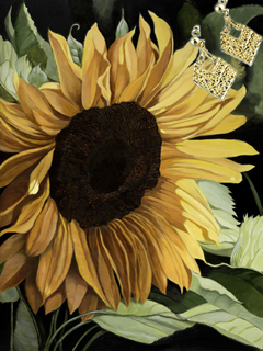 Sunflower-Fine Art Print on Canvas with  the 18K Gold Vermeil Diamond Shaped Earrings