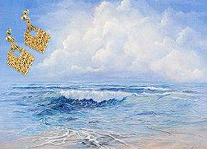 Tranquility Seascape Fine Art Print on Canvas with  the 18K Gold Vermeil Diamond Shaped Earrings