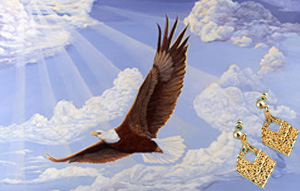 In God We Trust-Eagle, fine art print, with 18K Gold vermeil Triangular filigree Earrings