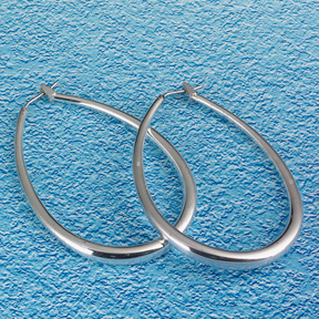 Sterling silver oval hoops