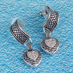 Heart earrings silver CZ crosshatching