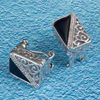 Sterling silver filigree and onyx rectangular earrings