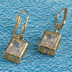 Caged cz rectangular solitaires in gold vermeil settings