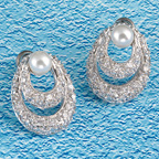 Pave cz on two oval hoops with pearl accent earrings