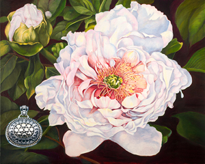 Peony, giclee print on canvas, with Gold and Silver Pendant