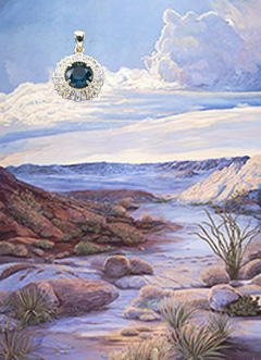 Day's Glory-Landscape, fine art print, with Hold Vermeil Pendant with rose cut CZ Emerald Center surrounded by channel set CZs