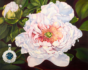 Peony, fine art print, with Gold Vermeil Pendant with Rose Cut CZ Emerald Center and handset  CZ surround. channel