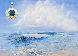Tranquility Seascape, giclee print-canvas, with Gold Pendant with Rose Cut CZ Emerald Center surrounded by hand set CZs