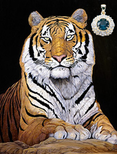 Watchful-Tiger, giclee print on canvas, with Gold Pendant with rose cut CZ emerald center surrounded by channel handsetCZs