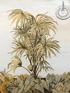 Deco Palm III, giclee print on canvas, with Gold and CZ Eternity Rings Pendant