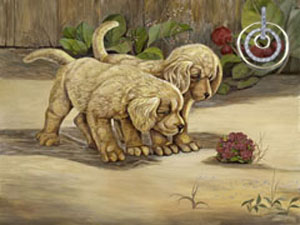Pups and a Bumblebees, fine art print, with Gold and CZ Eternity Rings Pendant