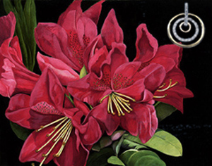 Red Rhododendruns, giclee print on canvas, with gold and CZ Eternity Rings Pendant