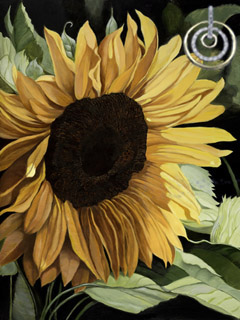 Sunflower, fine art print, with gold and CZ Eternity Rings Pendant
