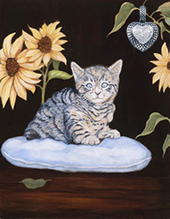 Kitty-Brand New, giclee print on canvas, with Rhodium heart with CZ Pave Center Pendant