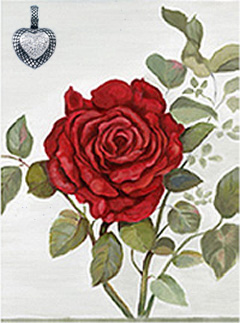 Red Rose, giclee print on canvas, with Rhodium Heart Pendant with CZ pave Center