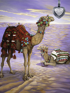 Contented? Camels, giclee Print on canvas, with Crosshatched Rhodium Heart Pendant with CZ pave Center