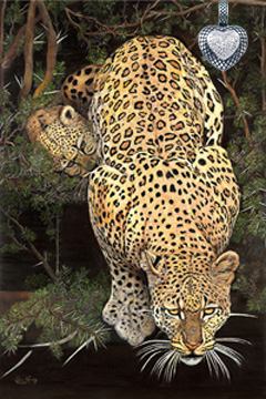 Caution-Baby on Board-Leopard, fine art print, with Rhodium Heart with CZ  Pave Center Pendant