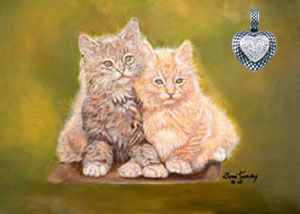 Double Trouble-kittens, fine art print, with Rhodium cross-hatched Heart with CZ Pave Center Pendant